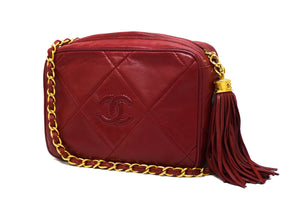 Chanel Vintage Rare Red Lambskin Classic Camera Bag