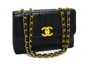Chanel Vintage Black Caviar Vertical Quilted Jumbo