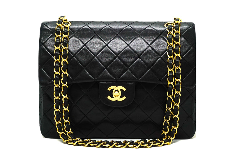 Chanel Vintage Black Lambskin Large Classic 2.55 Flap Bag