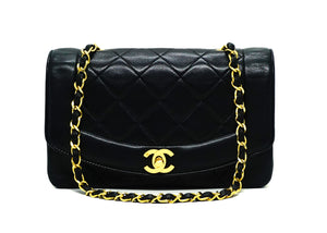 Chanel Vintage Black Lambskin Diana Flap Bag