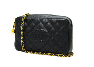 Chanel Vintage Rare Black Caviar Camera Bag
