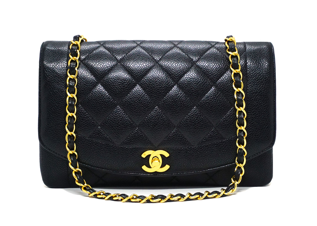 Chanel Vintage Rare Black Caviar Diana Flap Bag