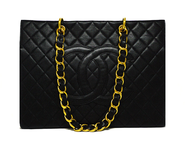 Chanel Vintage Rare Black Caviar Grand Shopping Tote GST XL