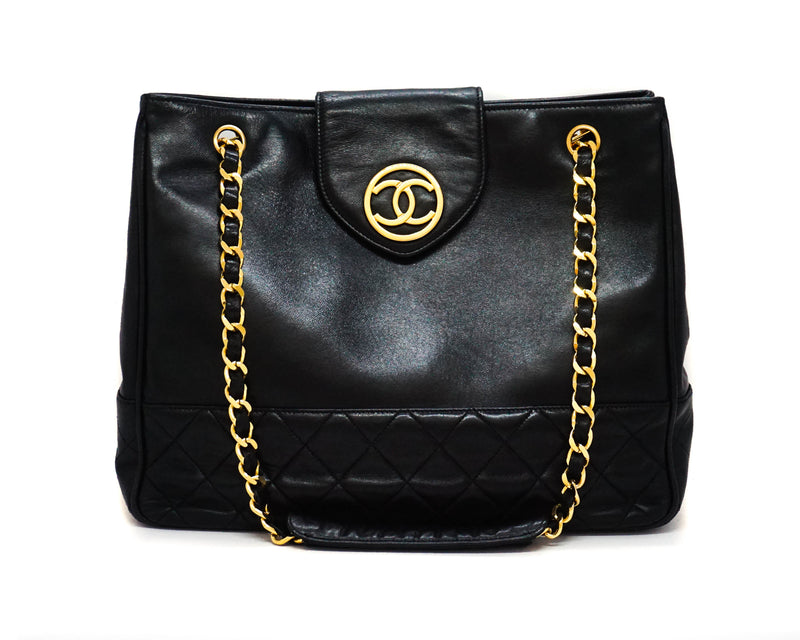 Chanel Vintage Black Circle Charm Large Tote