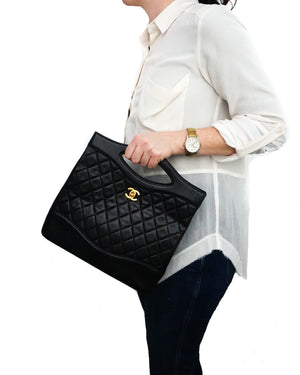 Chanel Vintage Black Lambskin 31 Large Shopping Bag