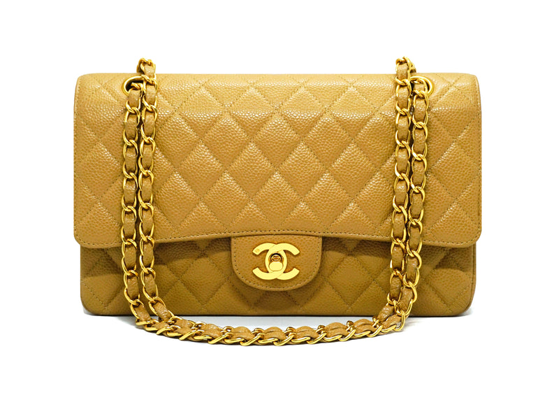 "Chanel Vintage Rare Tan Caviar Medium Classic 10"" Double Flap Bag"