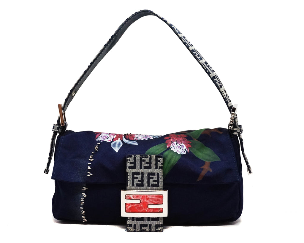 Fendi Vintage Runway Hand-Painted Silk Baguette Bag
