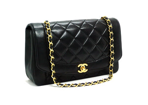 Chanel Vintage Black Lambskin Medium Diana Flap Bag