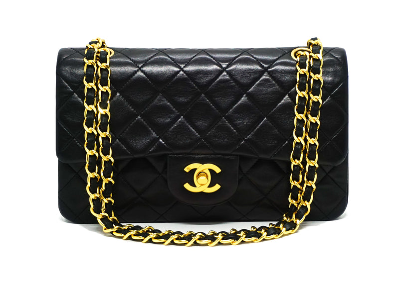 Chanel Vintage Black Lambskin Small Classic Double Flap Bag