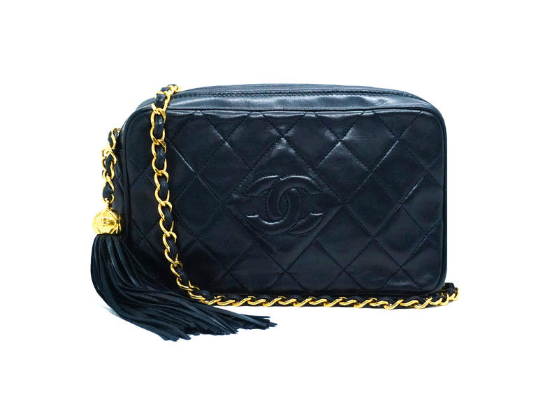 Chanel Vintage Rare Navy Lambskin Mini Camera Bag