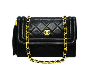 Chanel Vintage Rare Black Lambskin Mini Flap Bag
