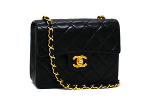 Chanel Vintage Black Lambskin Classic 2.55 Mini Flap Bag