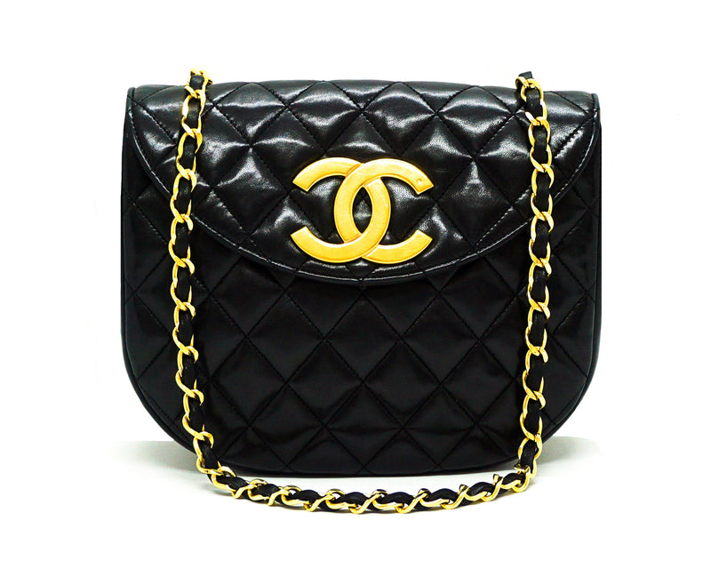 Chanel Vintage Rare Black Lambskin XL CC Mini Flap