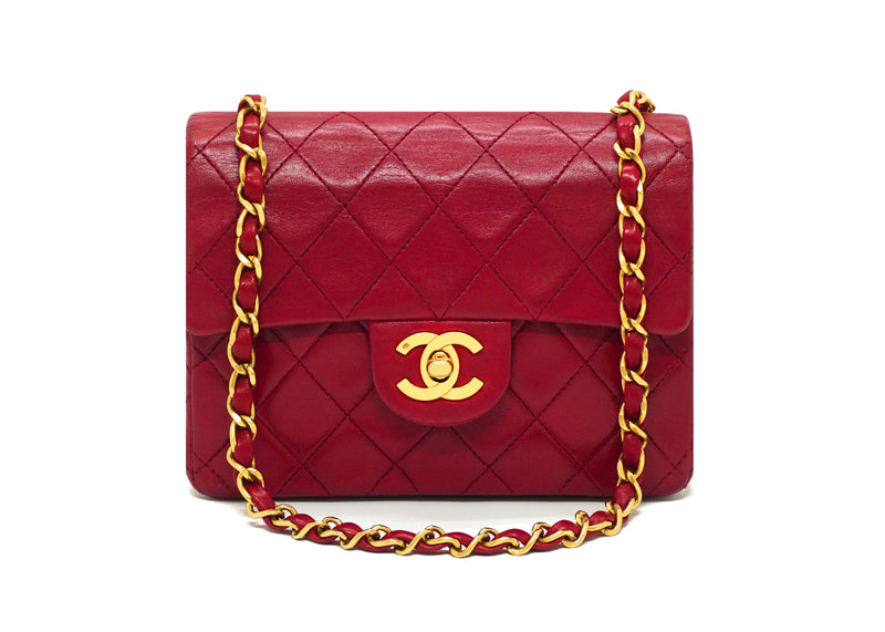 Chanel Vintage Rare Red Classic Square Mini Flap