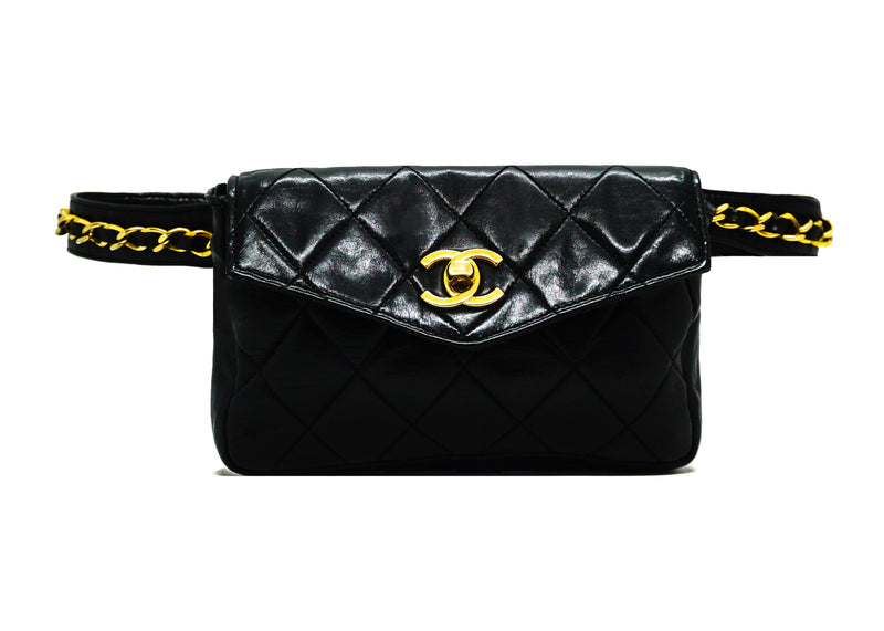 Chanel Vintage Rare Black Lambskin Belt Bag