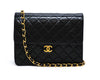 Chanel Vintage Black Lambskin Small Classic Half Flap Bag