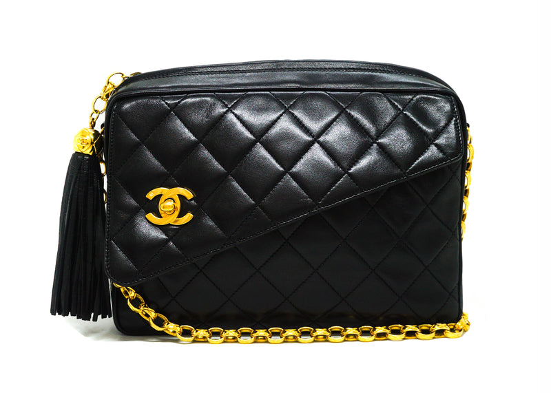 Chanel Vintage Black Lambskin Rare Etched Camera Bag