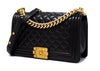 Chanel Black Lambskin Old Medium Boy Bag