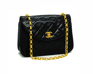 Chanel Vintage Black Lambskin Rare Etched Chain Flap