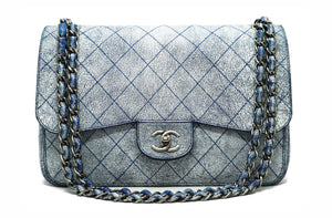 Chanel Runway Blue Distressed Calfskin Double Flap Jumbo