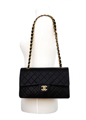 Chanel Vintage Black Lambskin Medium Classic Medium Double Flap Bag
