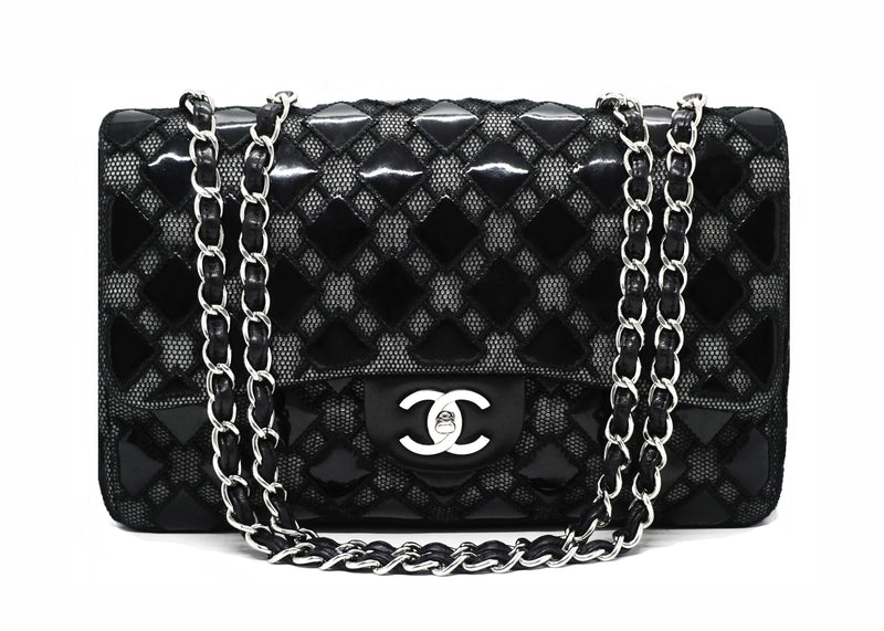Chanel Runway Black Patent Mesh Single Flap Jumbo