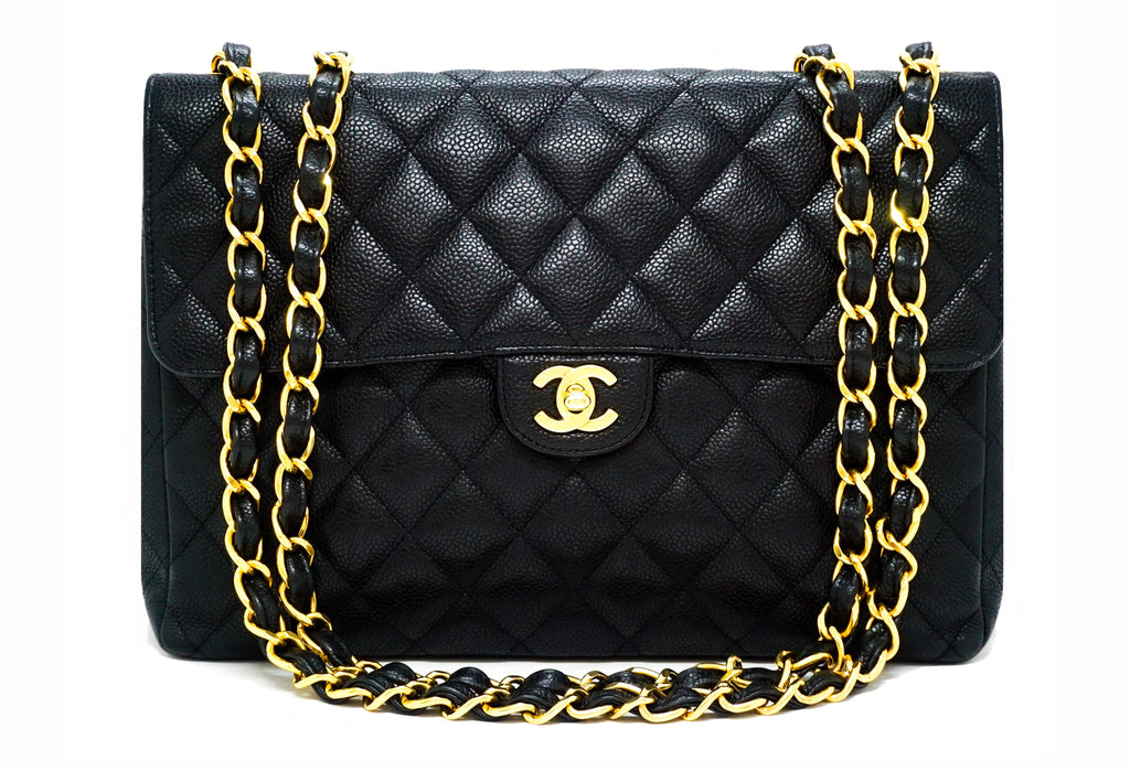 Chanel Vintage Black Caviar Classic Single Flap Jumbo