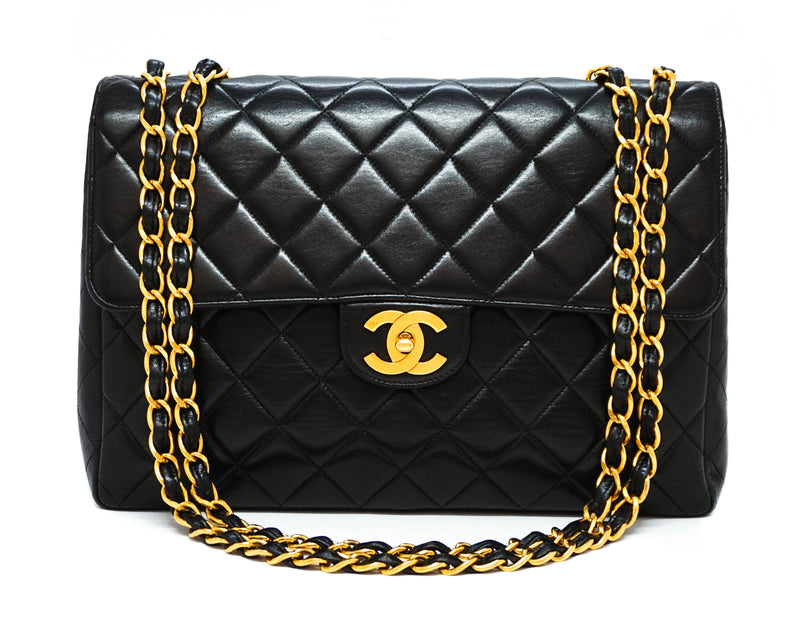 Chanel Vintage Black Lambskin Classic Single Flap Jumbo