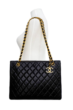 Chanel Vintage Black Lambskin Quilted Tote