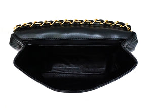 Chanel Vintage Rare Black Lizard Mini Flap Bag