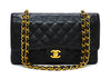 "Chanel Vintage Black Caviar Medium Classic 2.55 10"" Flap Bag"