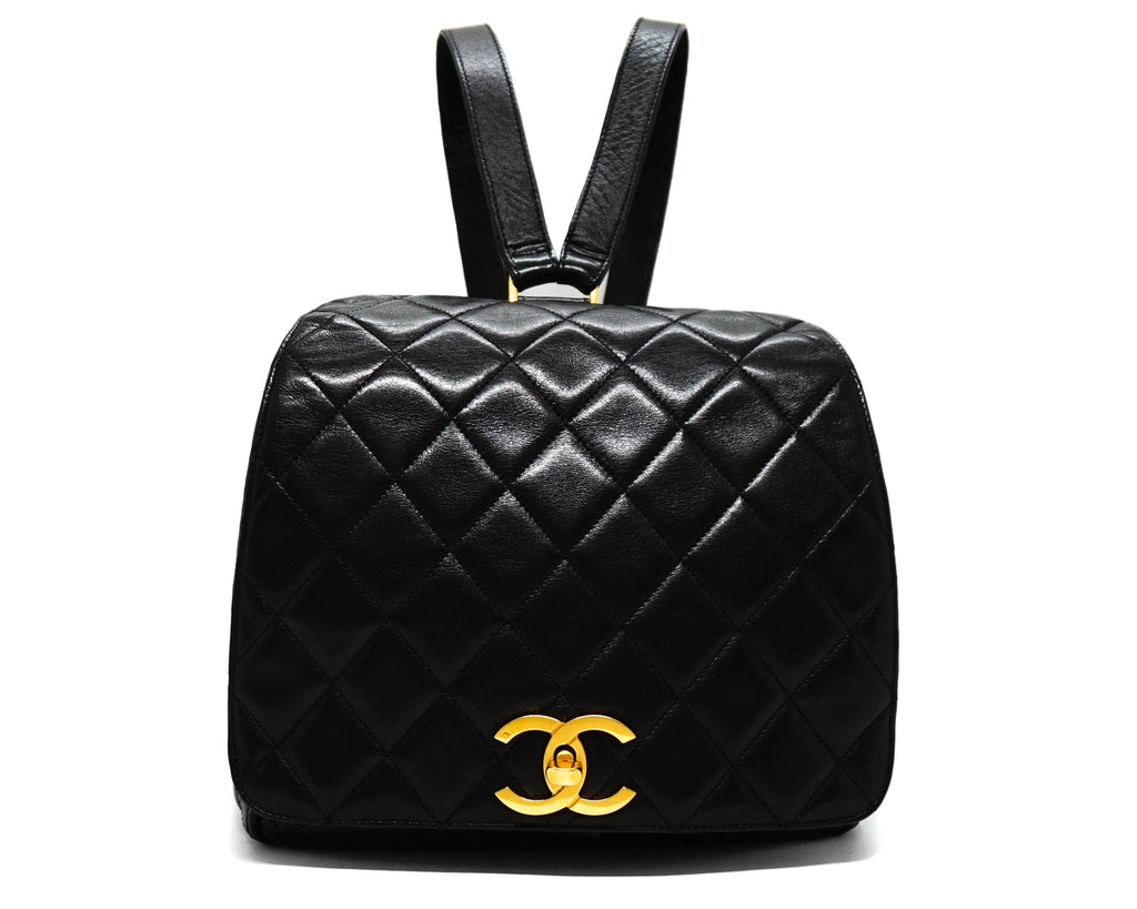 Chanel Vintage Black Lambskin Rare Backpack