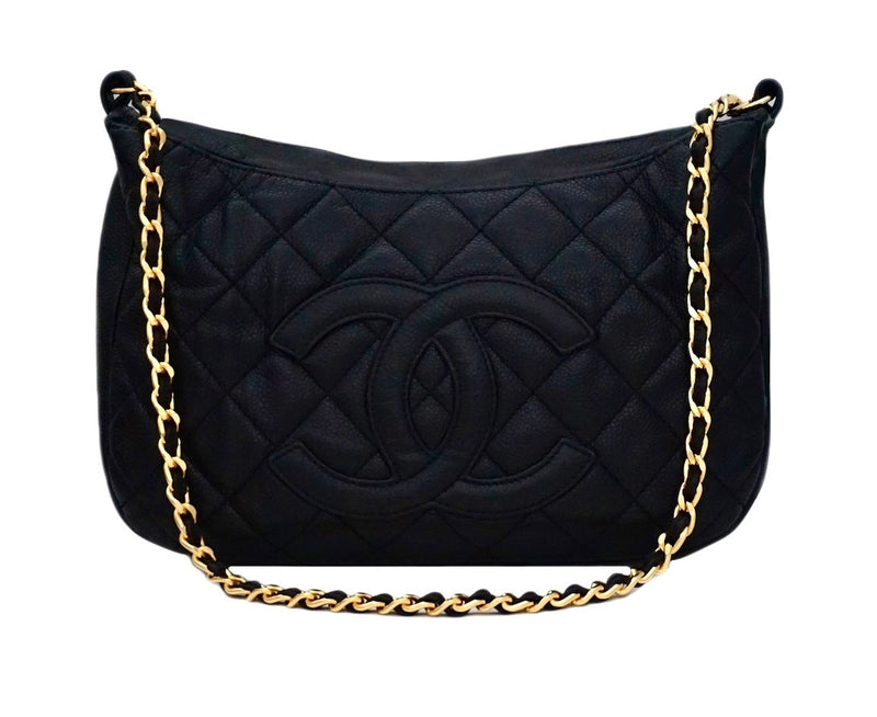 Authentic Chanel Black Caviar Quilted GST Camera Style Handbag