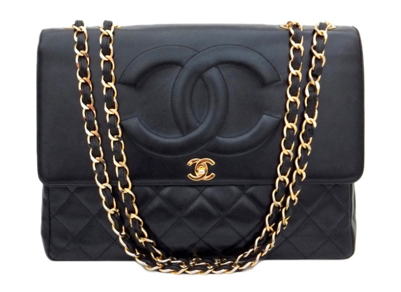 Authentic Chanel Vintage Black Lambskin Rare Maxi Jumbo