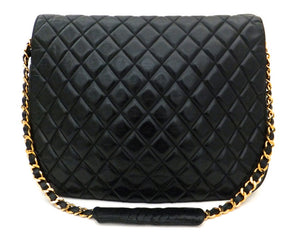 Authentic Chanel Vintage Black Rare Quilted Jumbo Flap Handbag