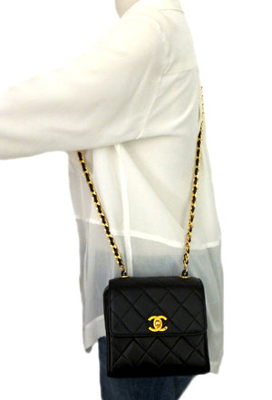 Authentic Chanel Vintage Black Mini 2.55 Flapover
