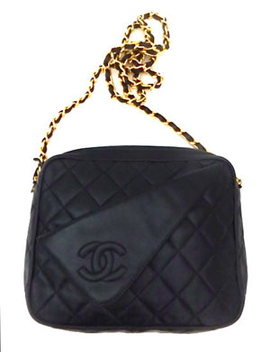 Authentic Chanel Vintage Black Quilted Mini Camera Style Handbag