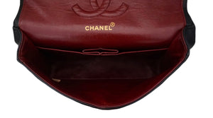 "Authentic Chanel Vintage Black Lambskin 2.55 10"" Medium Flap Handbag"
