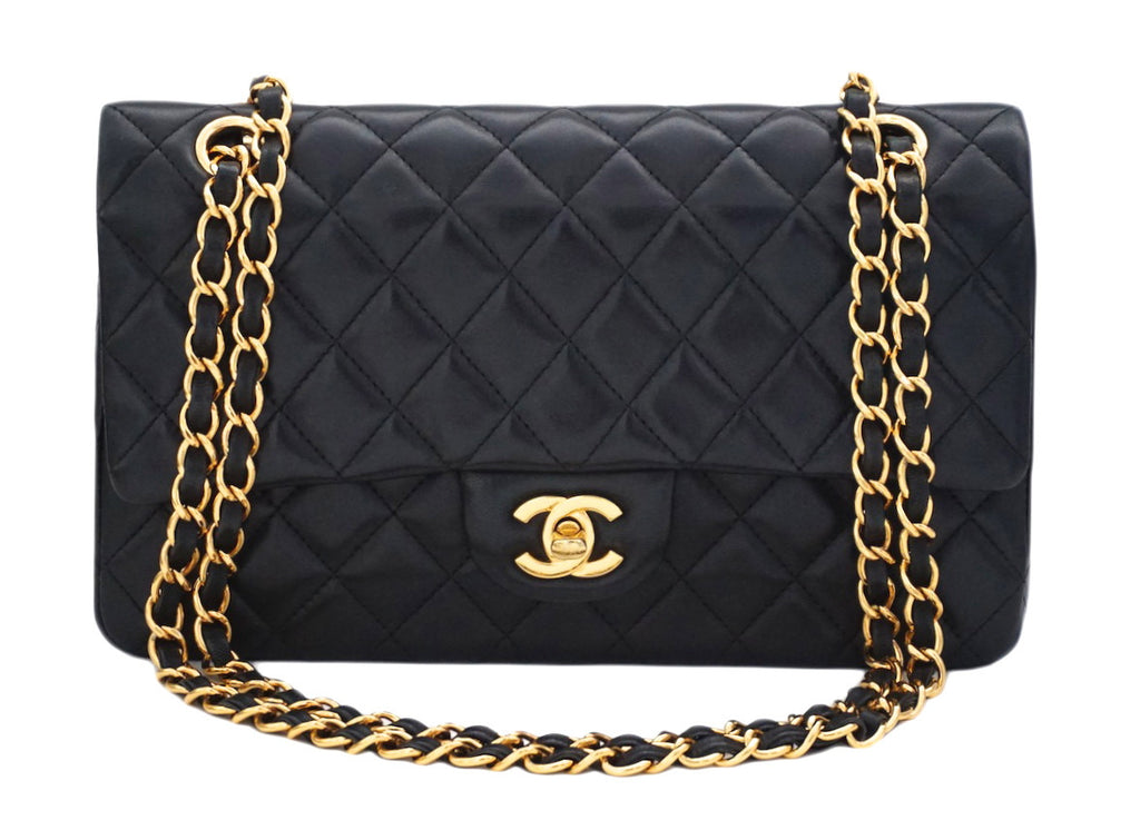 "Authentic Chanel Black Lambskin 2.55 10"" Double Flapover"