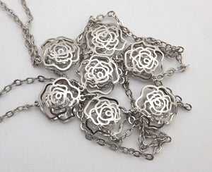 Authentic Chanel Silver Crystal Camellia Necklace