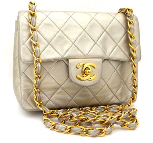 Authentic Chanel Vintage Gold Mini 2.55 Flapover