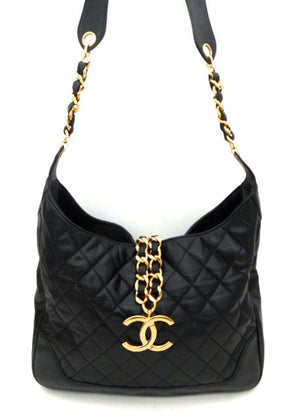Authentic Chanel Vintage Black Rare Lambskin Tote