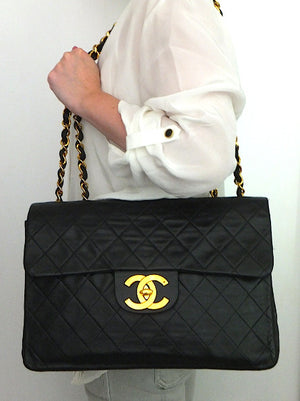 Authentic Chanel Vintage Quilted Lambskin XXL Maxi Jumbo