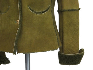 Chanel Vintage Runway Rare Green Shearling Jacket