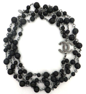 Authentic Chanel Black Enamel Reversible Necklace