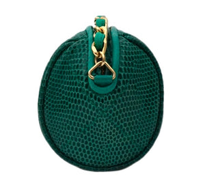 Authentic Chanel Vintage Green Rare Lizard Quilted Tube Handbag