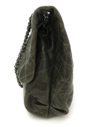 Authentic Chanel Green Coated Caviar Modern Maxi Jumbo Flapover