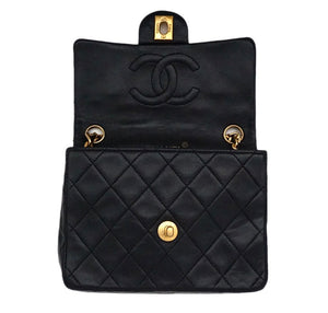 Authentic Chanel Vintage Black Lambskin 2.55 Mini Flapover
