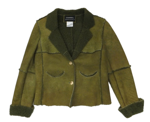 Authentic Chanel Green Shearling Jacket