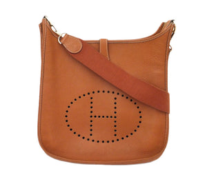 Authentic Hermès Evelyne GM III Cognac Clemence Leather Cross Body